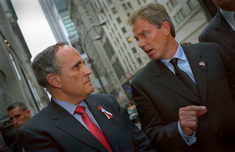 Mayor Giuliani is Out - Seen here with with Tony Blair : NYC : In the week of the 9/11 attack