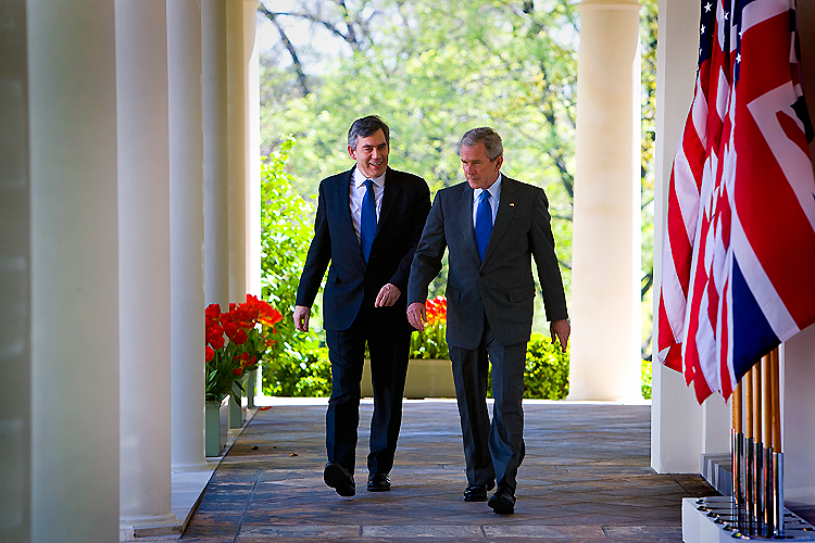 Bush Brown Walk in the Rose Garden: White House: Washington DC