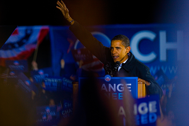 The Final Wave of The Final Campaign Speech - Barack Obama : Manassas - Virginia : USA