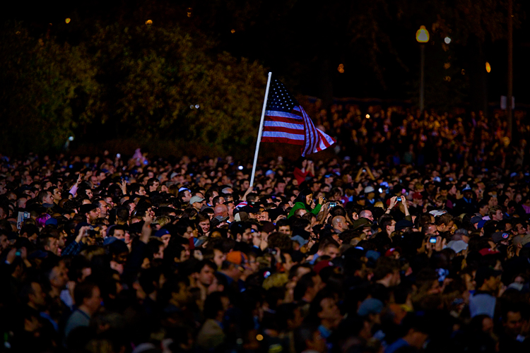 Barack Obama Victory Crowd - The Flag was still there : Grant Park Chicago : USA