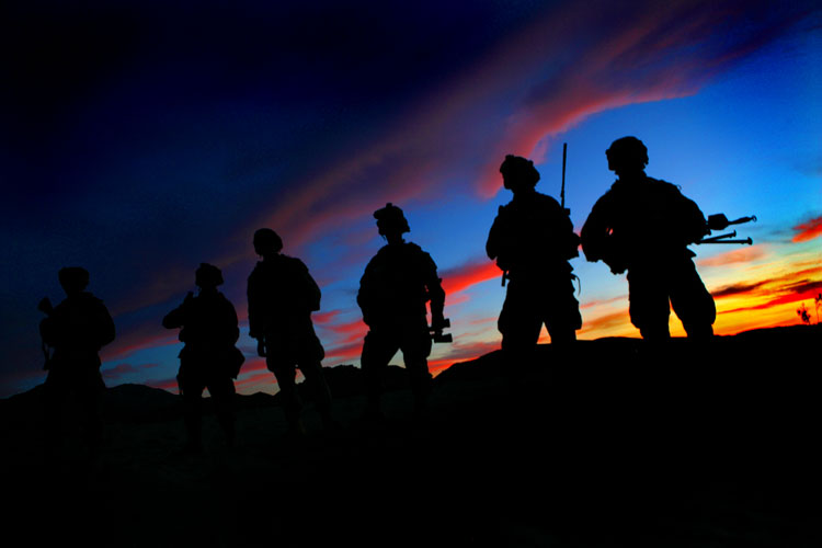 Veterans Day - American Soldiers Training in the Desert Before Deploying to Iraq : NTC California : USA