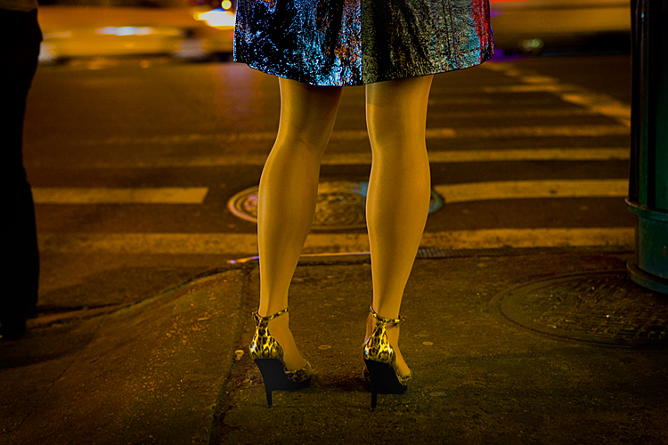 Girls Legs - Leopard Print Gold Shoes - Yellow Taxi : 23rd & 9th : NYC