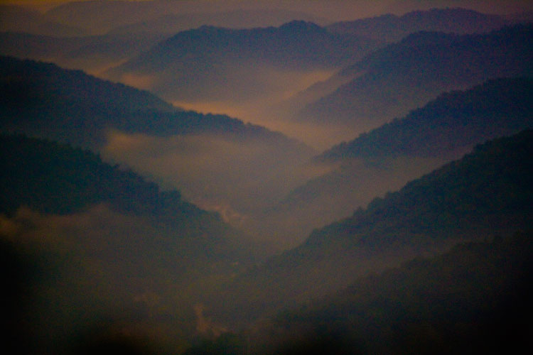 Misty Mountains : Early morning Helicopter Ride : West Virginia