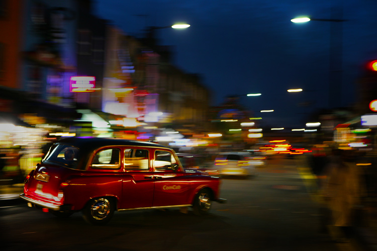 Red Black Cab in Camden : London UK