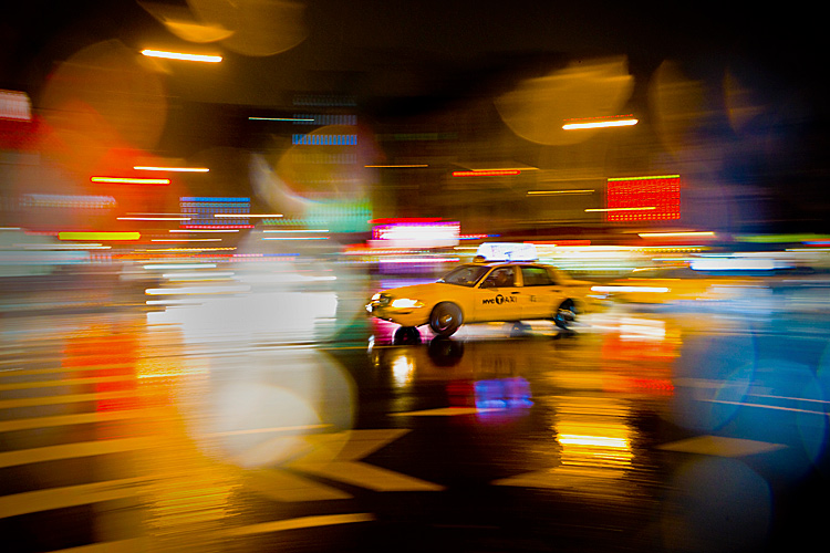Mad Taxi Blur in the Rain :  23rd St & 8th Av : New York City