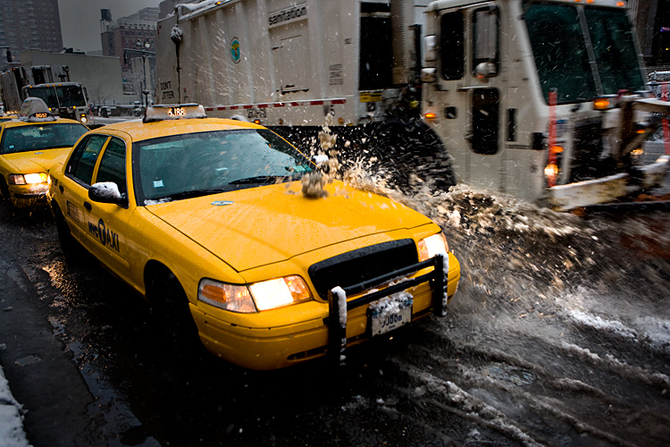 The Snow Plough the Taxi and the Waterproof Trousers : Penn Station 8th Av : NYC