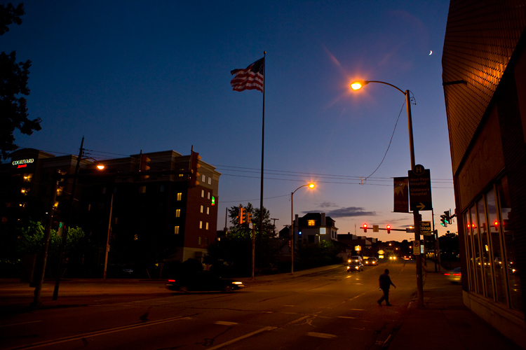 View of America : The Flag The Moon and the Lone Walker : Pittsburgh