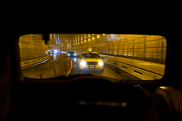 Taxi in the Midtown Tunnel : Heading for Manhattan : NYC