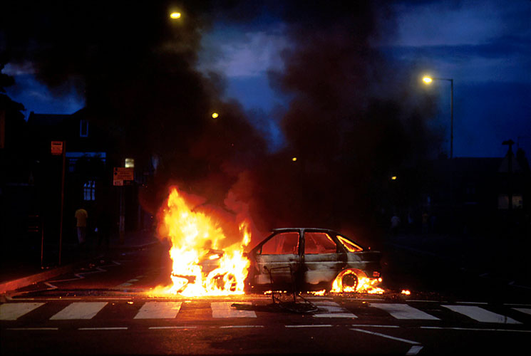 Burning Car : Belfast : Northern Ireland