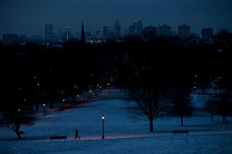 View from Primrose Hill in Winter : North Central London : UK
