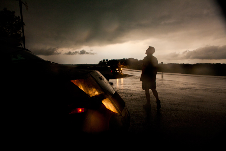 Reed Timmer from Storm Chasers Drives the Dominator into Hurricane Irene : USA