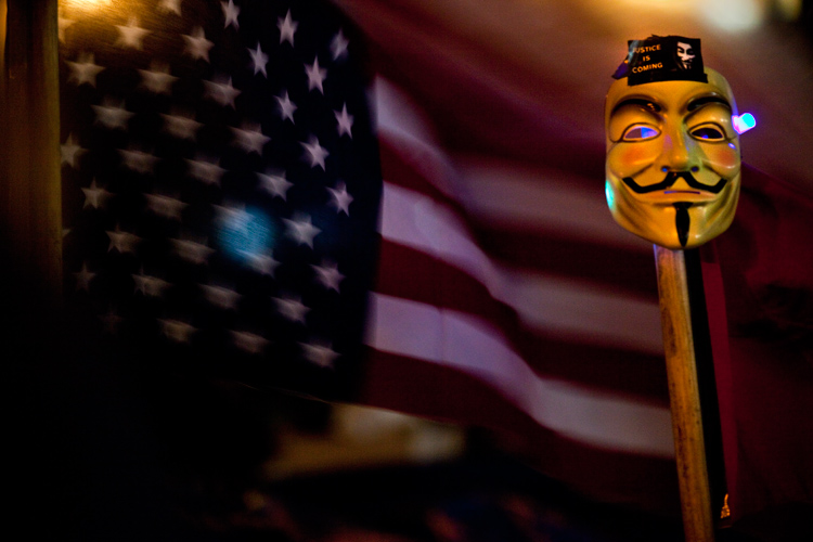 Guy Fawkes Mask : Occupy Wall St Protest : New York City