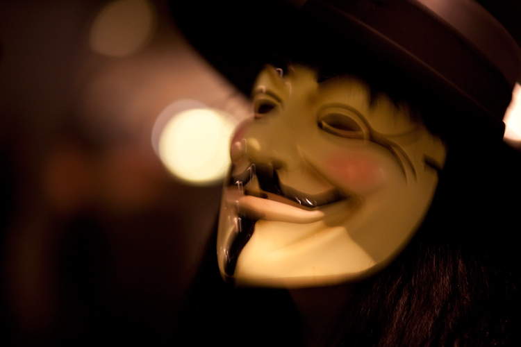Guy Fawkes Mask : Trafalgar Square : Occupy London