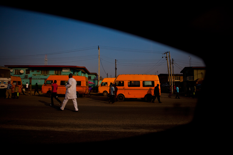 Taxi Rank in the Early Morning : Airport Road Lagos : Nigeria