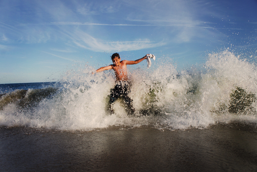 Little Guy in a Big Wave : Hamptons NY : USA
