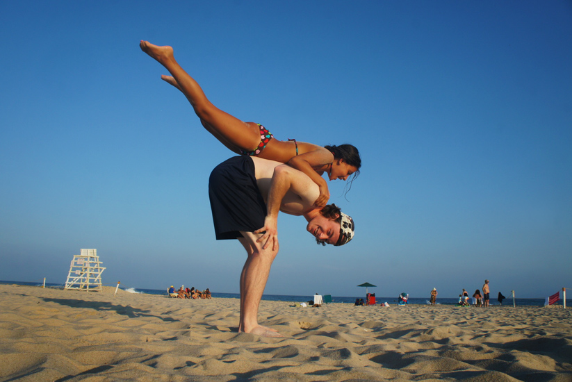 Olympic Style Gymnastics on the Beach : Hamptons NY : USA