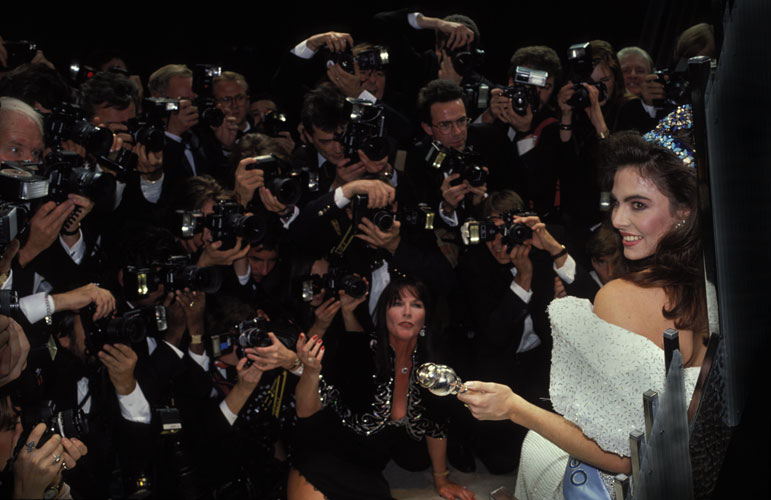Miss World and Massed ranks of Photographers : Re Harry and The Crown Jewels : London