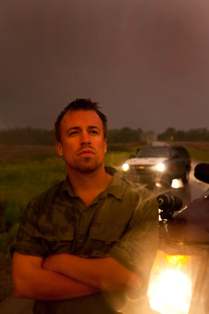 Reed Timmer Meteorologist and Extreme Storm Chaser with The Dominator : Kansas