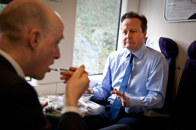 David Cameron Grim Joke Face : Train to London
