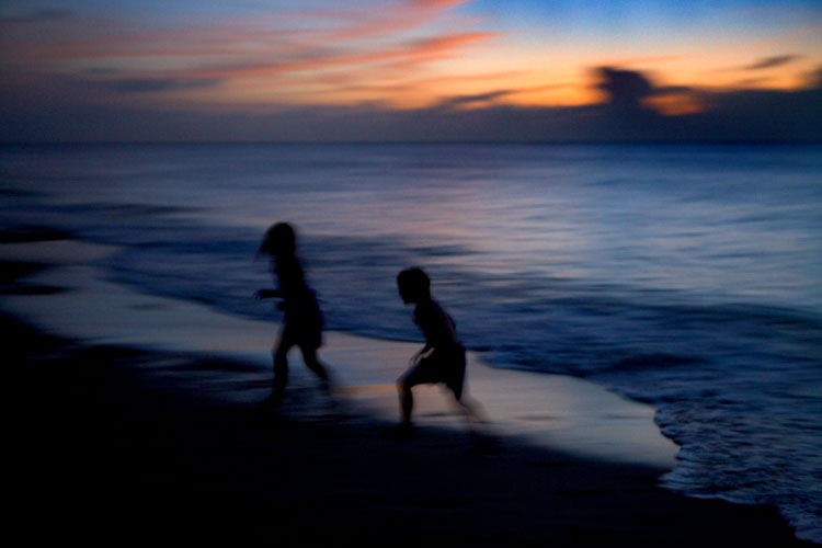 Beach Dusk Crazy Kids : St Thomas : US Virgin Isles