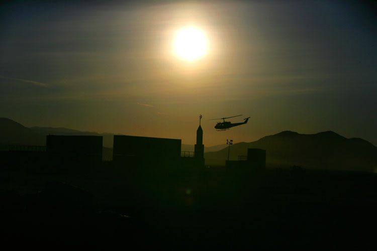 Helicopter at the Dawn Call to Prayer
