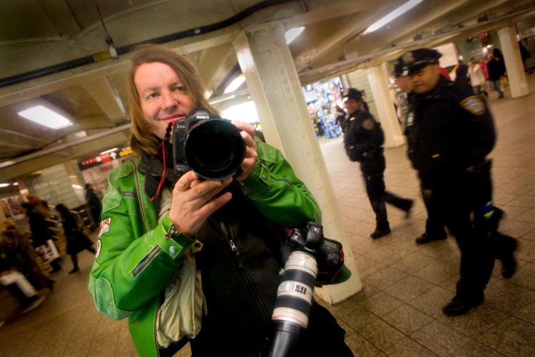 Self Portrait with Cops : Times Sq Subway Station : NYC