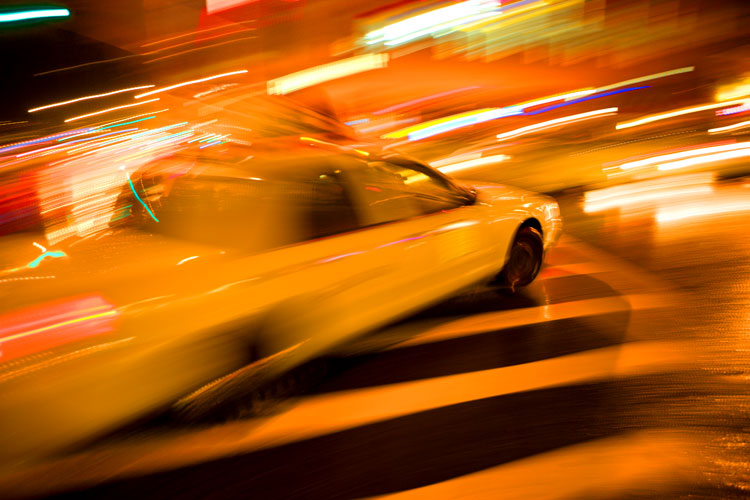 Taxi as Shooting Star : 23rd St & 8th Av NYC