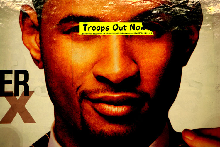 Troops Out Now : Poster 23rd St C Train Subway Platform NYC