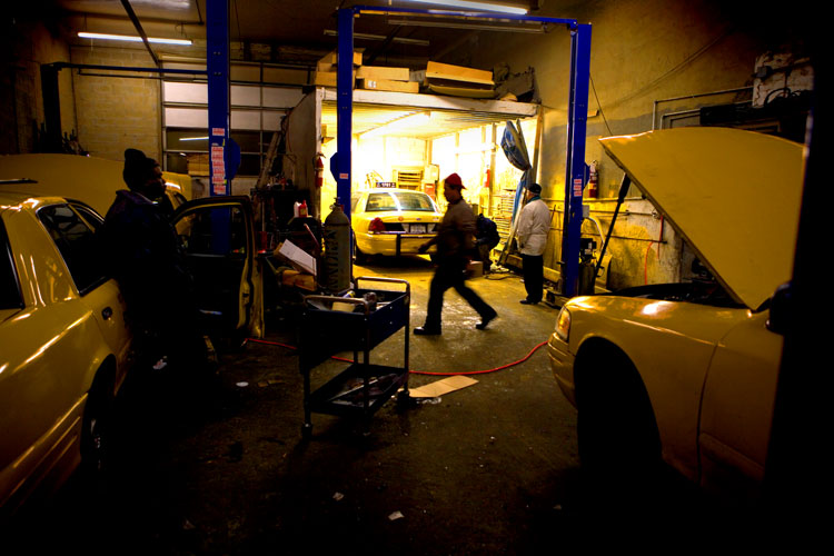 Taxi Repair at Midnight : West Side Highway : NYC