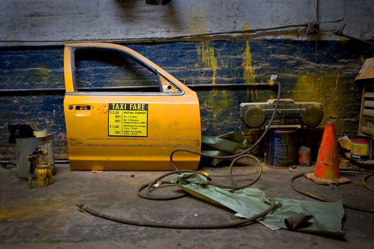 Taxi Door - Spray Shop at Midnight : Westside Highway : NYC