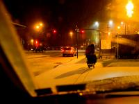 Homeless Man Snowy Night : West Side Highway : NYC
