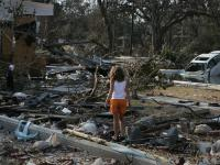 Girl Returns to the Site of Her Destroyed Home : Katrina : Pascagoula Mississippi