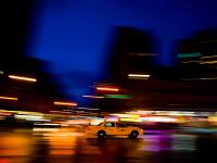 Taxi blur in the Blue Time : 8th & 23rd : NYC
