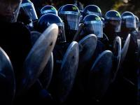 Riot Cops Mass for a Charge : Protest/Riot against the National Front : South London