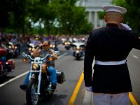 Marine Salutes The Rolling Thunder Parade : National Mall: Washington DC