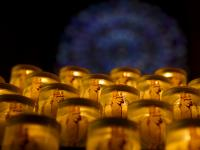 Prayer Candles In Notre Dame Cathedral : Paris : France