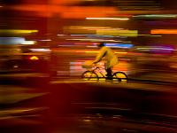 Bike Blur and Rain Coat : Meatpacking District : NYC
