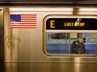 Last Stop Please Exit the Train : Sleeping man E train WTC : NYC