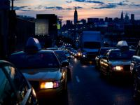 Empire State Cabs Rolling Home : Taxis In Rush Hour Traffic with Manhattan Skyline  : Queens