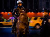 Police Horse Cops and Taxis : Times Sq : NYC