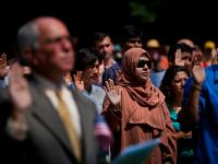 Swearing the Oath to become an American : Citizenship Ceremony : Mount Vernon VA
