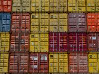 Wall of Containers: Port of Felixstowe : Suffolk Coast UK