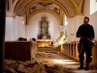 Croat Solider in a Shelled Church : Osijeck : Croatia