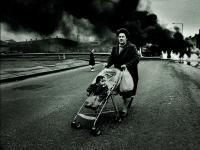 Belfast Violence : Woman and Pram Short Strand : Northern Ireland