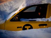 Yellow Cab Snow Drift :  Niagara Falls City : USA