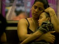 Sleeping Mother and Child : D Train Coney Island to Manhattan Subway : Brooklyn
