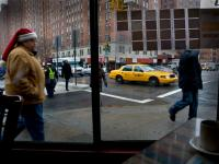 Santa Taxi Driver coming in for Lunch : Chelsea Sq Diner 23rd & 9th : NYC