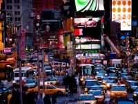 Taxi in a Sea of Traffic and Humanity : Times Sq : NYC