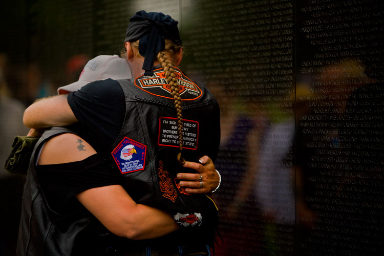 Grief and Remembrance at the Wall : Rolling Thunder : Vietnam War Memorial : The National Mall Washington DC