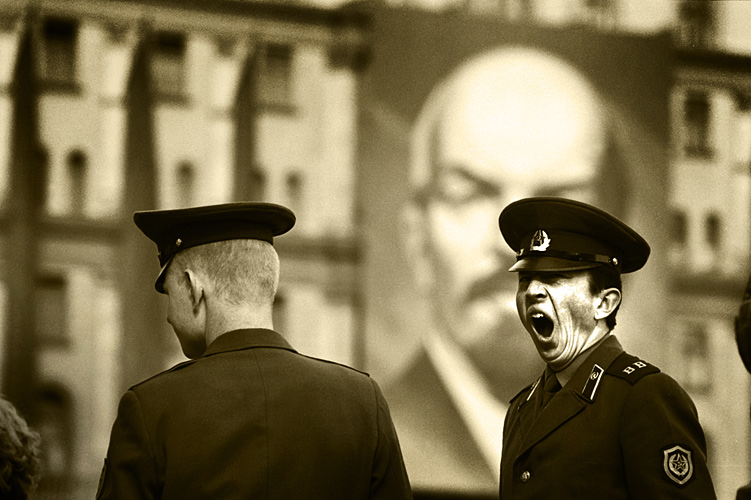 Lenin Glares Down on Yawning Soviet Soldier : Red Square : Moscow Russia